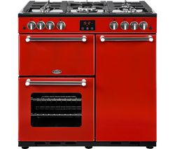 BELLING Kensington 90G Gas Range Cooker - Red & Chrome