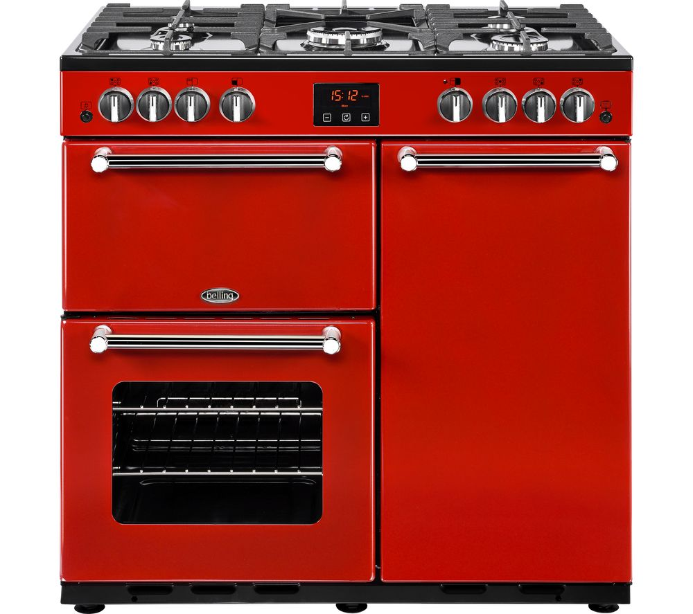BELLING Kensington 90G Gas Range Cooker - Red & Chrome, Red