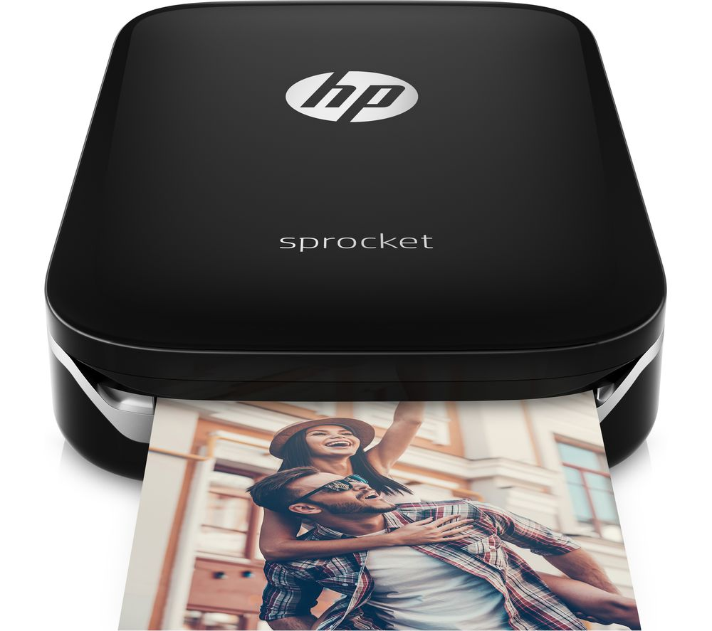 Sprocket Mobile Photo Printer - Black + ZINK 50 x 76 mm Photo Paper for HP Sprocket - 20 Sheets