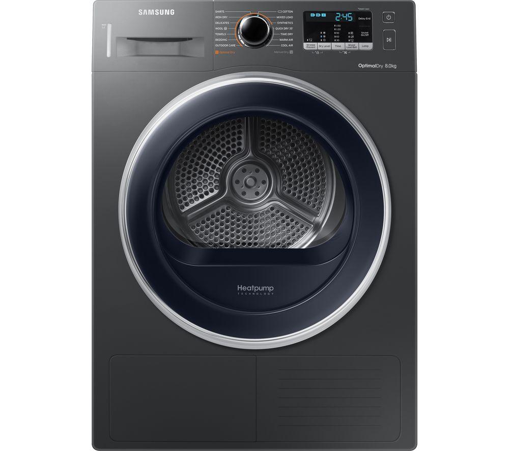 SAMSUNG DV80M5010QX/EU 8 kg Heat Pump Tumble Dryer - Graphite + AddWash WW80K5410UX Washing Machine - Graphite
