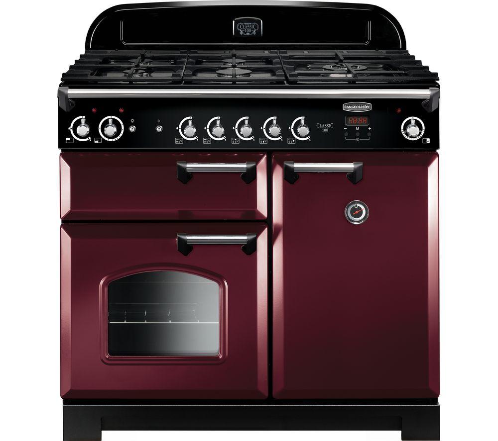 RANGEMASTER Classic 100 Gas Range Cooker - Cranberry & Chrome
