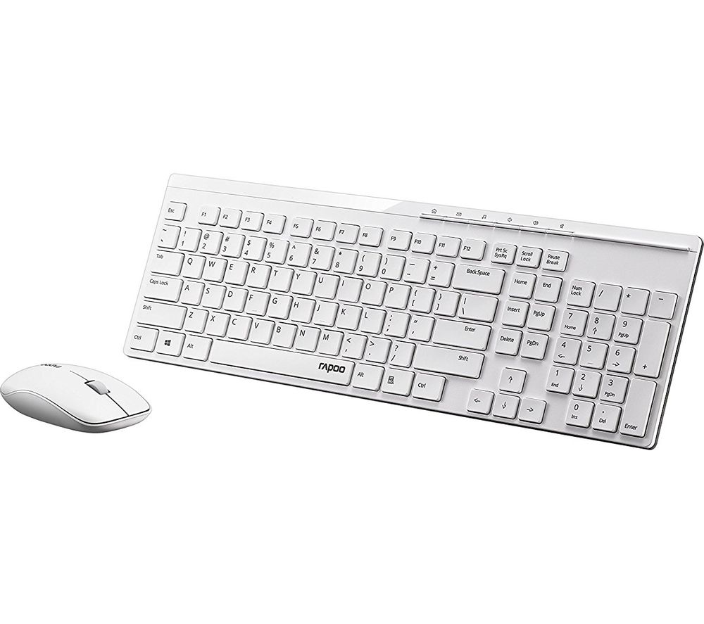 buy rapoo x8100 wireless keyboard mouse set white free delivery currys. Black Bedroom Furniture Sets. Home Design Ideas