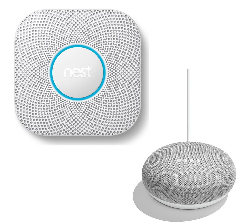 NEST Protect 2nd Gen Smoke & Carbon Monoxide Battery Alarm & Home Mini Bundle