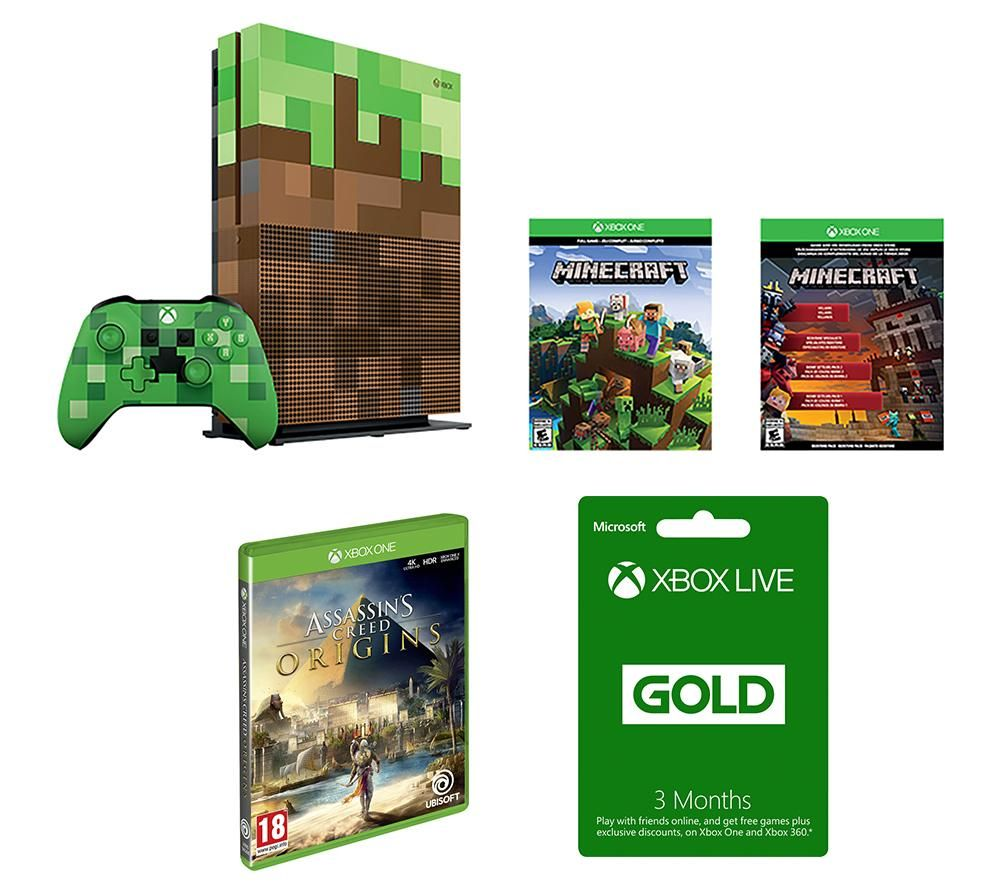 Image of MICROSOFT Xbox One S Minecraft Limited Edition, Assassin's Creed Origins & LIVE Gold Subscription Bundle, Gold