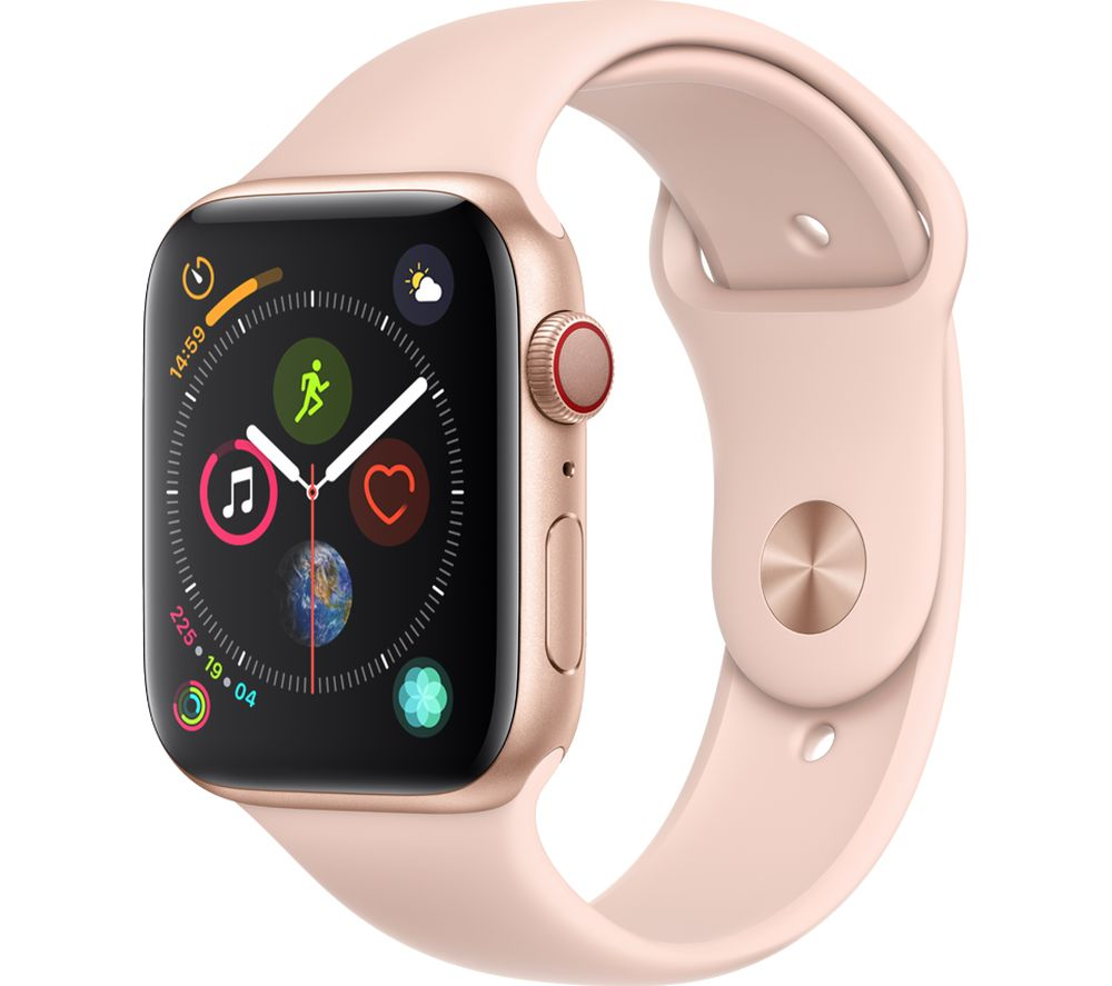 APPLE Watch Series 4 Cellular - Gold & Pink Sports Band, 44 mm