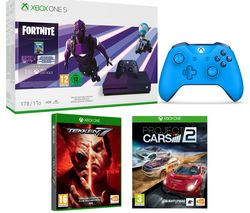 MICROSOFT Special Edition Xbox One S, Fortnite, Tekken 7, Project Cars 2 & Blue Wireless Controller Bundle