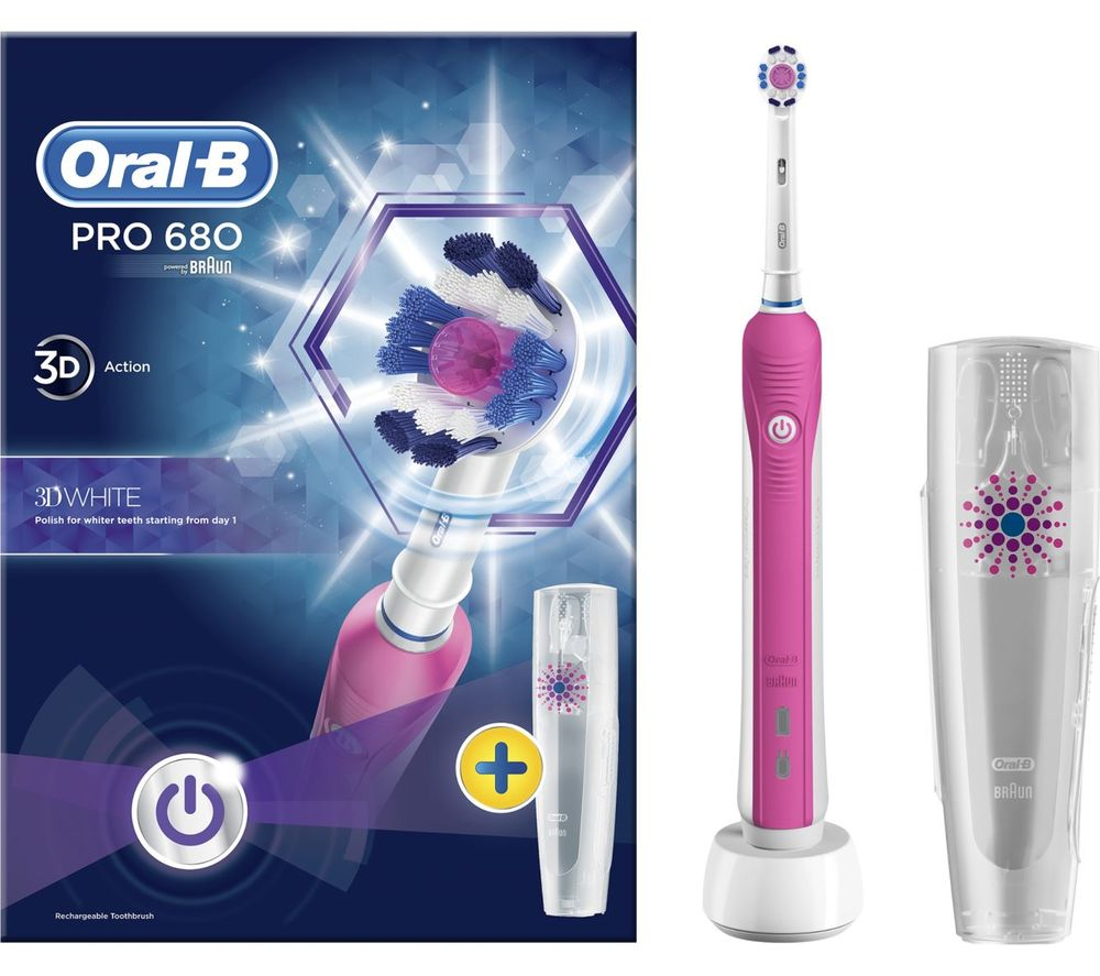 ORAL B 3D White Electric Toothbrush - Pink