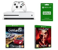 MICROSOFT Xbox One S with Tekken 7, Project Cars 2 & LIVE Gold Membership 3 Month Subscription