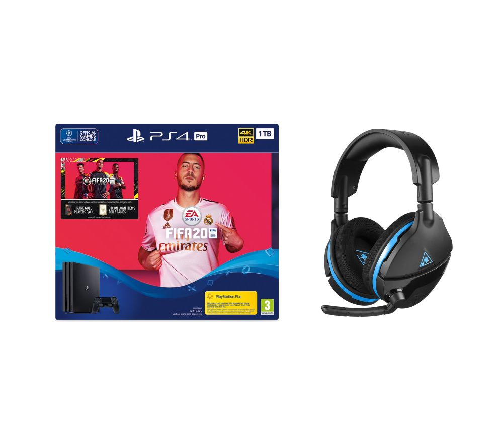 SONY Playstation 4 Pro with FIFA 20 & Turtle Beach Gaming Headset Bundle - 1 TB, Black