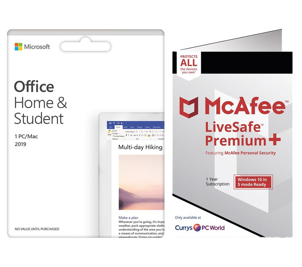Image of MCAFEE LiveSafe Premium 2020 & Microsoft Office Home & Student 2019 Bundle