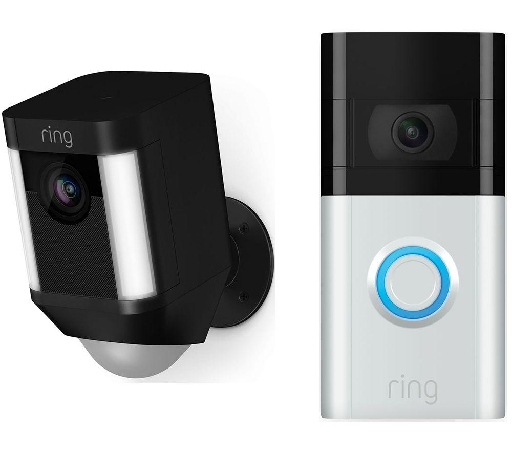 RING Spotlight Cam Battery & Video Doorbell 3 Bundle