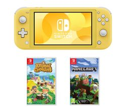 Switch Lite, Animal Crossing: New Horizons & Minecraft Bundle - Yellow