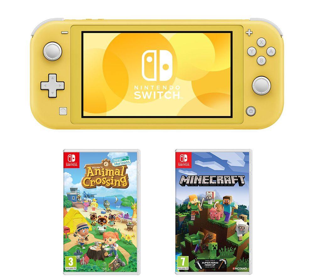 NINTENDO Switch Lite, Animal Crossing: New Horizons & Minecraft Bundle - Yellow