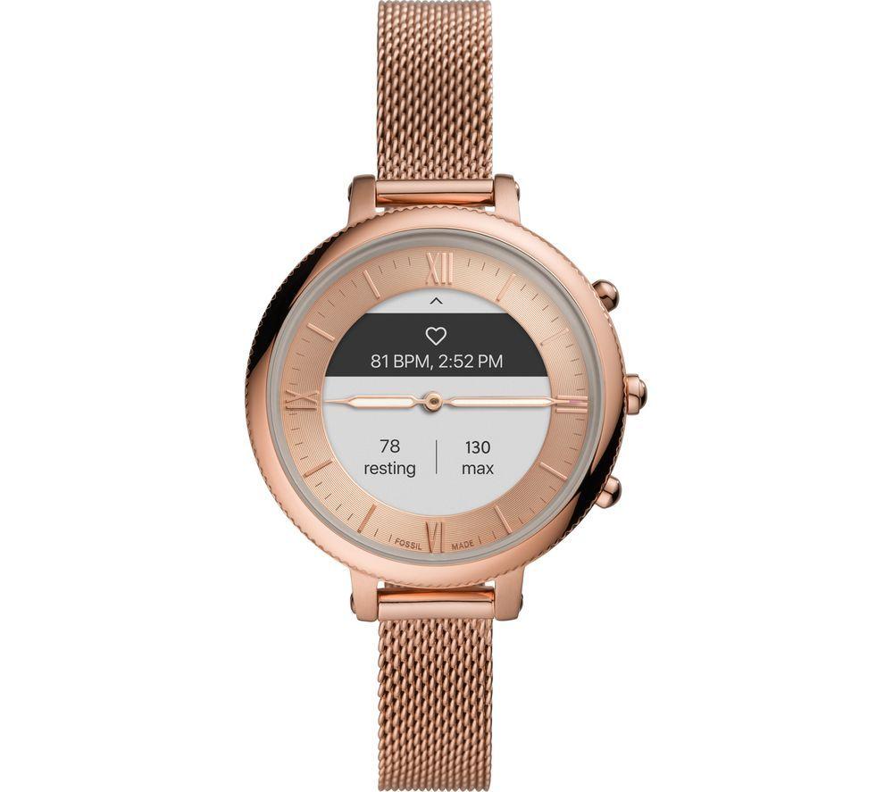 FOSSIL Monroe Hybrid HR FTW7039 Smartwatch - Rose Gold, Stainless Steel Mesh Strap