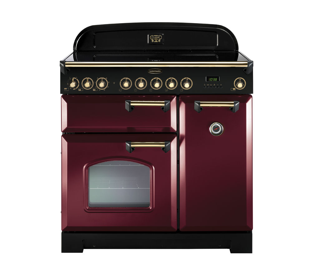 RANGEMASTER Classic Deluxe 90 Electric Ceramic Range Cooker - Cranberry & Brass