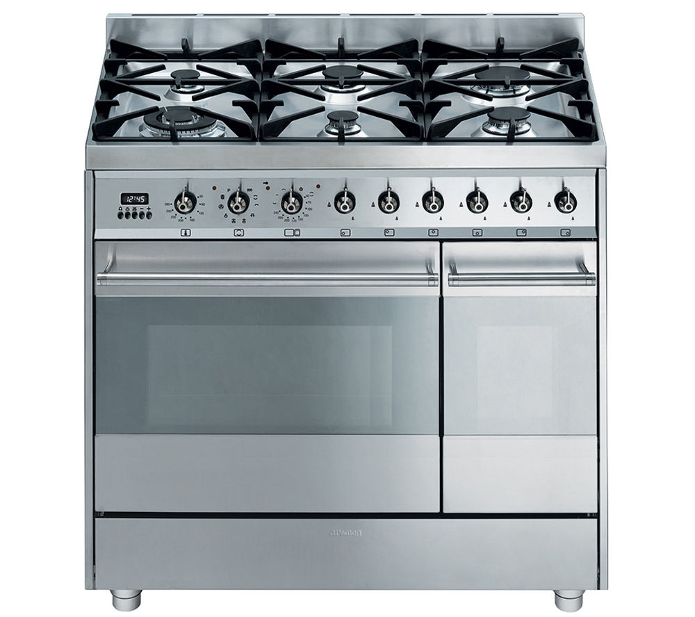 Image of SMEG Symphony 90 Dual Fuel Range Cooker - Stainless Steel, Stainless Steel