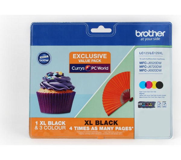 Image of BROTHER LC123/LC129XL Cyan, Magenta, Yellow & Black Ink Cartridges - Multipack