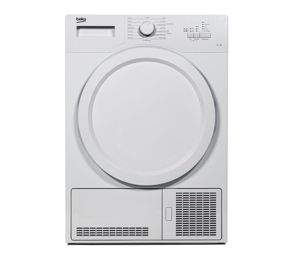 BEKO DCX71100W Condenser Tumble Dryer - White + DFS05X10W Slimline Dishwasher - White