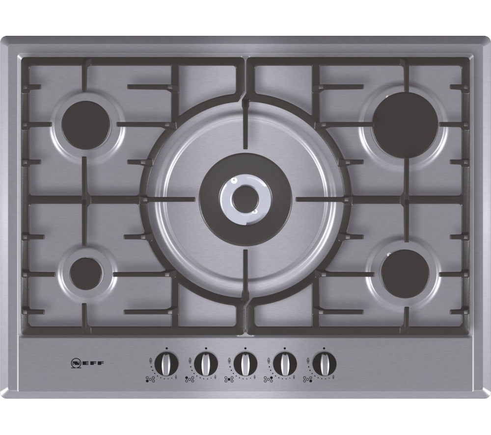 NEFF T25S56N0GB Gas Hob - Stainless Steel + D86ER22N0B Chimney Cooker Hood - Stainless Steel