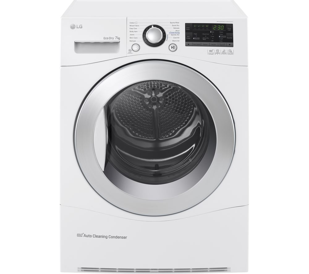 buy lg rc7055ah2m condenser tumble dryer white free delivery currys. Black Bedroom Furniture Sets. Home Design Ideas