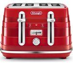 DELONGHI Avvolta CTA4003.R 4-Slice Toaster - Red