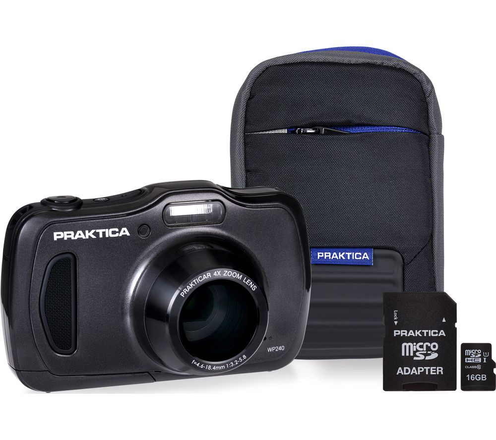 PRAKTICA Luxmedia WP240-GY Compact Camera & Accessories Bundle - Graphite