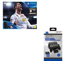 SONY PlayStation 4 Slim, FIFA 18 & Twin Docking Station Bundle