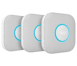 NEST Protect 2nd Generation Smoke and Carbon Monoxide Alarms - Triple Pack, Battery Operated