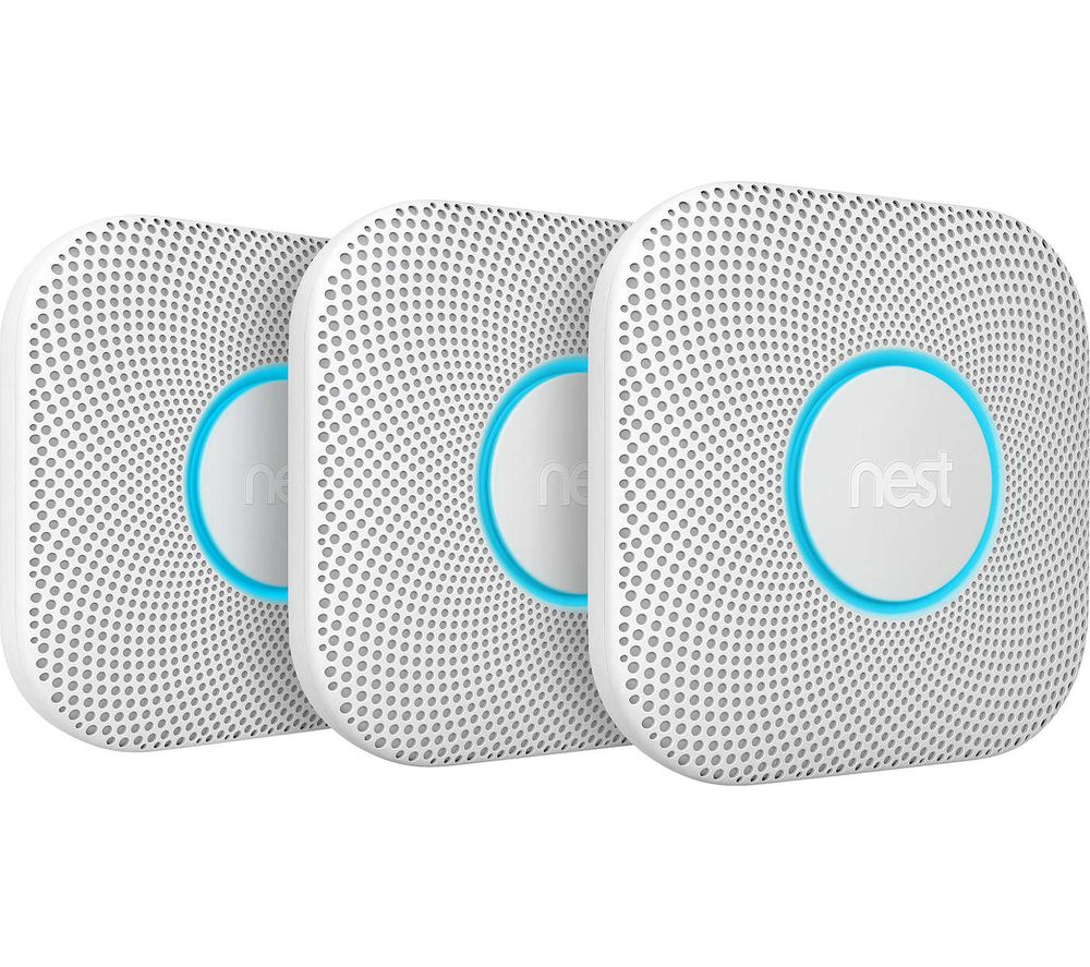 GOOGLE Nest Protect 2nd Generation Smoke and Carbon Monoxide Alarms - Triple Pack, Battery Operated