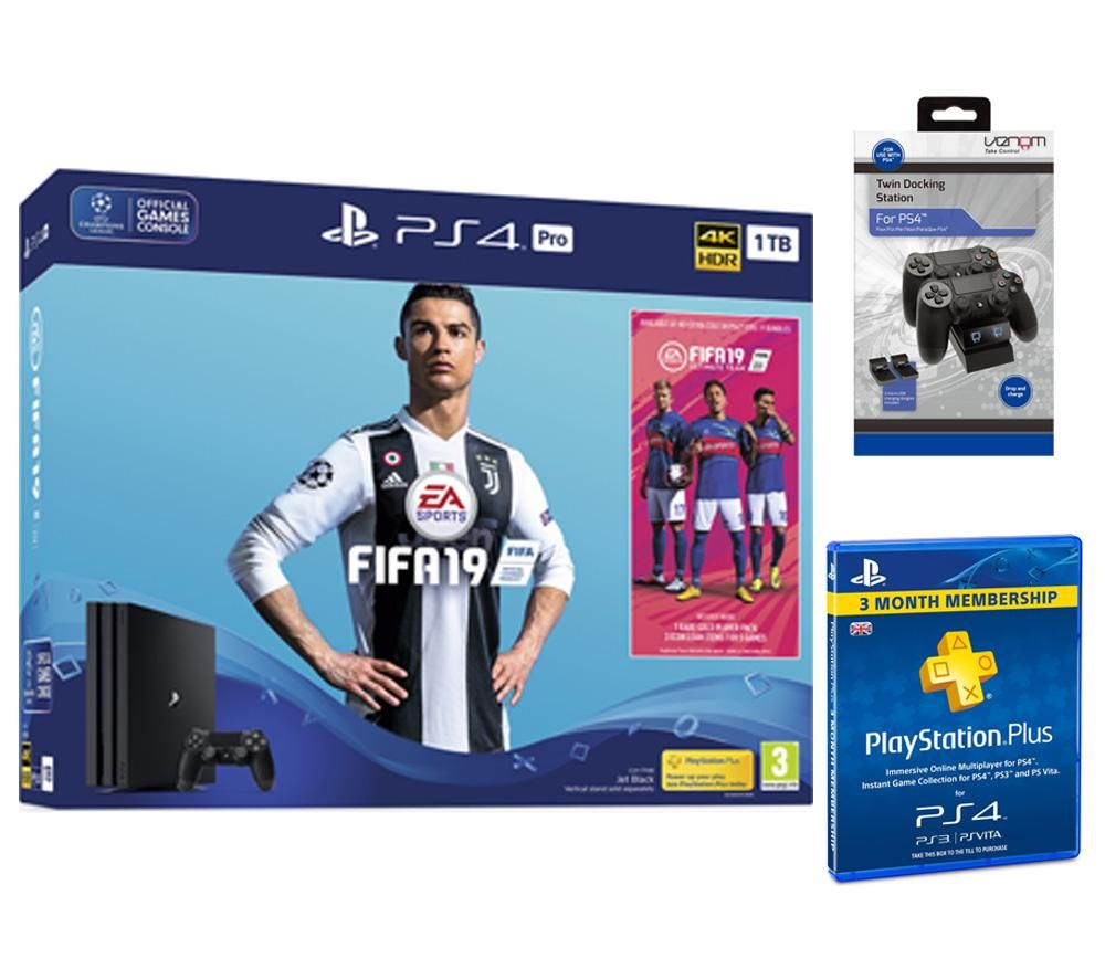PlayStation 4 Pro with FIFA 19, Twin Docking Station & PlayStation Plus 3 Month Subscription Bundle,
