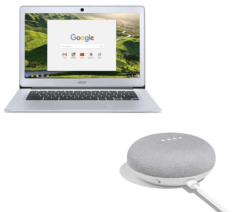 "GOOGLE CB3-431 14"" Chromebook & Home Mini Bundle - Silver, Silver"
