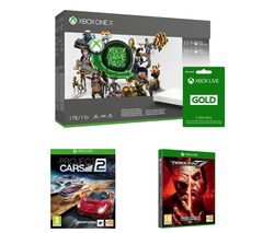 MICROSOFT Xbox One X, 3-Month Game Pass, Live Gold Membership x 2, Tekken 7 & Project Cars 2 Bundle - 1 TB