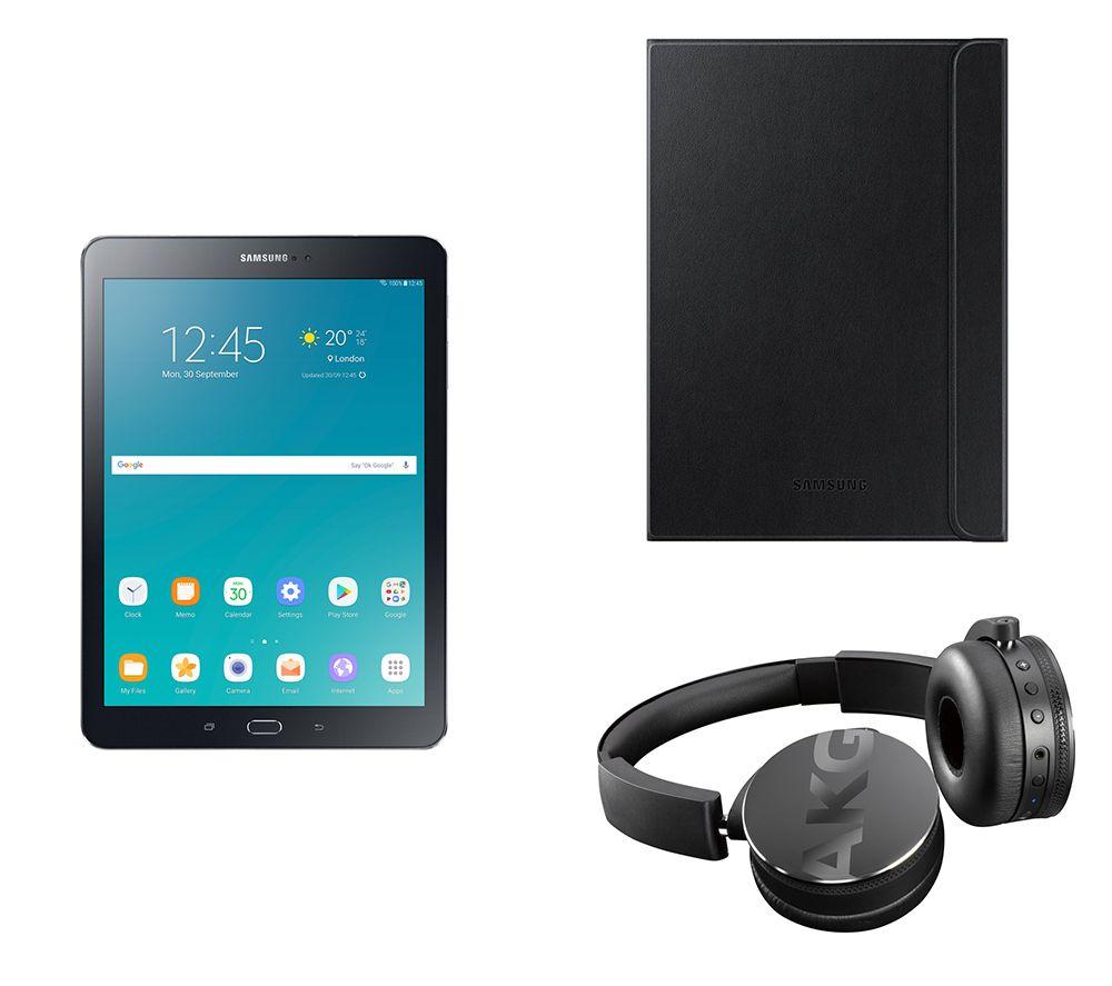 Image of SAMSUNG Galaxy Tab S2 9.7' Tablet, C50BT Wireless Bluetooth Headphones & Galaxy Tab S2 Folio Case Bundle - 32 GB, Black, Black
