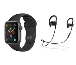 APPLE Watch Series 4 & Powerbeats3 Wireless Bluetooth Headphones Bundle - Space Grey & Black Sports Band, 40 mm