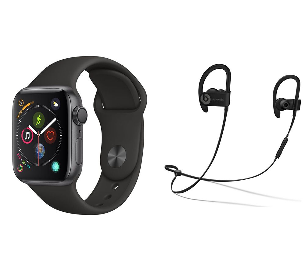 APPLE Watch Series 4 & Powerbeats3 Wireless Bluetooth Headphones Bundle - Space Grey & Black Sports Band, 40 mm
