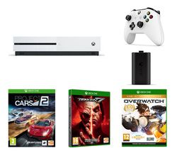 MICROSOFT Xbox One S, Tekken 7, Overwatch, Project Cars 2, Charge Kit & Wireless Controller Bundle