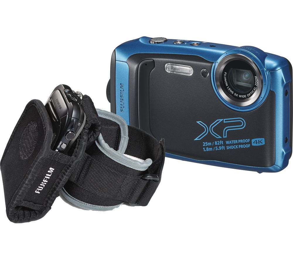 Click to view product details and reviews for Fujifilm Finepix Xp140 Tough Compact Camera With Action Jacket Arm Sleeve Sky Blue Blue.