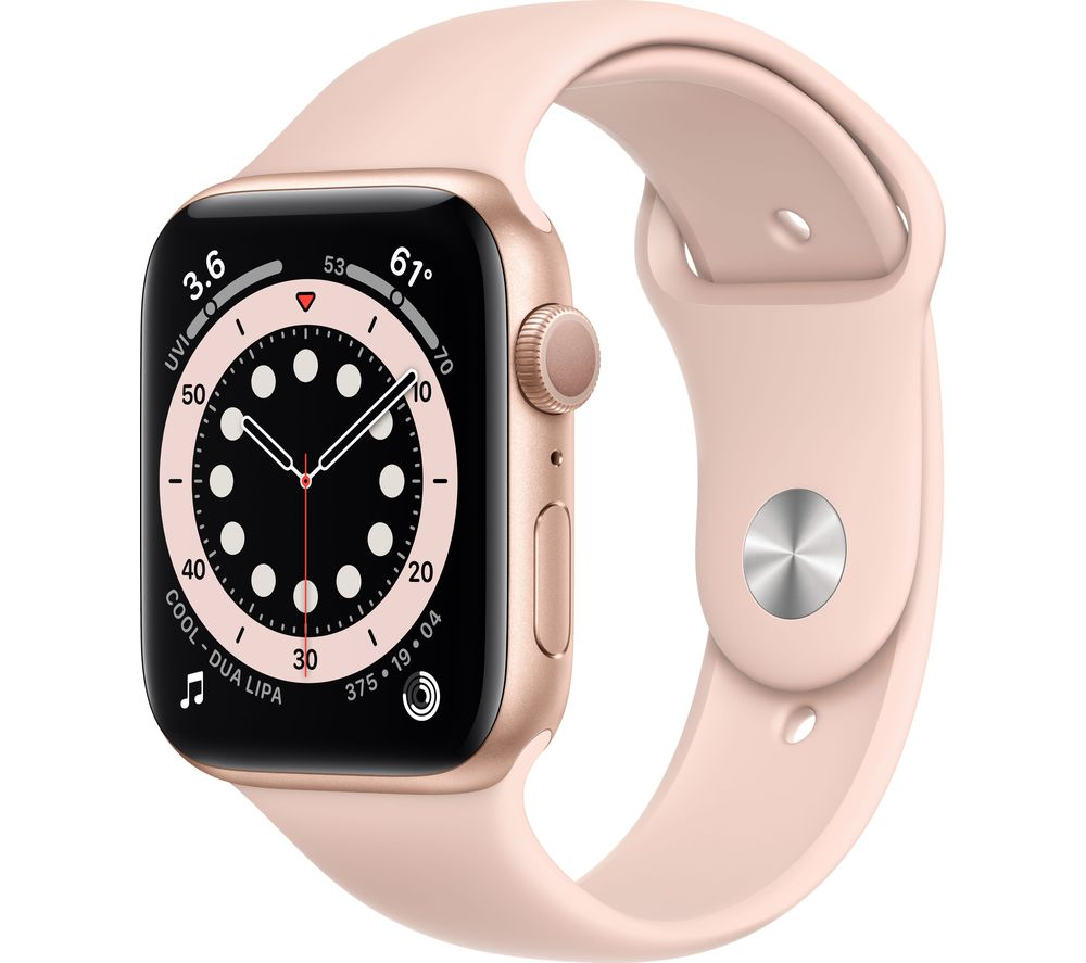 APPLE Watch Series 6 - Gold Aluminium with Pink Sand Sports Band, 44 mm