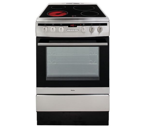Image of AMICA 608CE2TAXX 60 cm Electric Ceramic Cooker - Stainless Steel