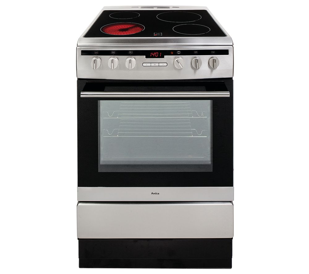 Image of AMICA 608CE2TAXX 60 cm Electric Ceramic Cooker - Stainless Steel, Stainless Steel