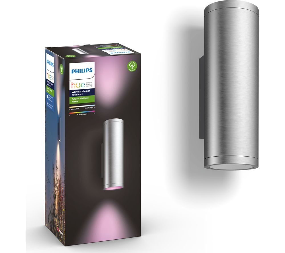 PHILIPS HUE Appear White & Colour Ambiance Outdoor Wall Lamp - Silver, Set of 2