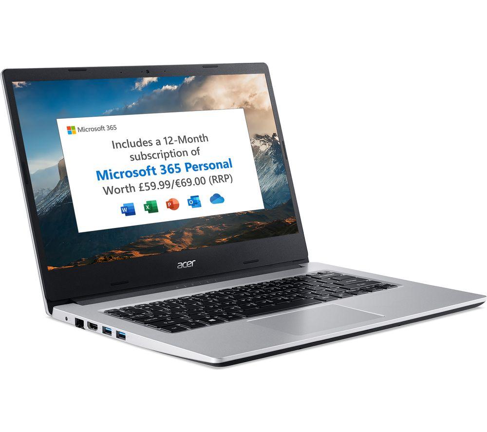 "Image of ACER Aspire 3 A314-22 14"" Laptop - AMD Ryzen 3, 128 GB SSD, Silver, Silver"