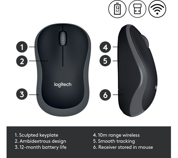 Buy LOGITECH M185 Wireless Optical Mouse - Grey | Free Delivery ...