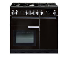 RANGEMASTER Professional+ 90 Dual Fuel Range Cooker - Black & Chrome