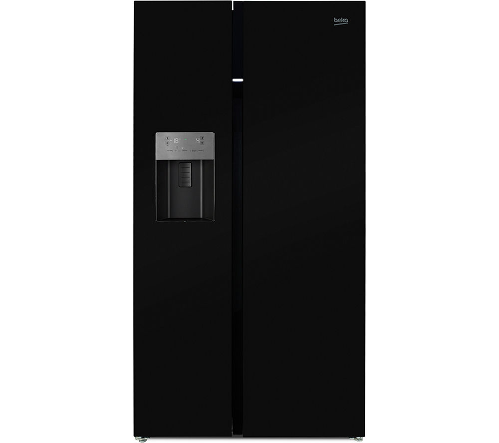 Image of BEKO ASGP342B American-Style Fridge Freezer - Black, Black