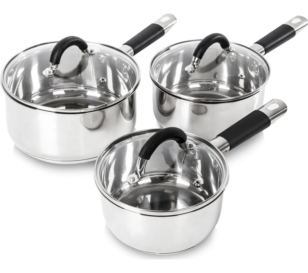 TOWER T80835 3-piece Non-stick Saucepan Set - Stainless Steel