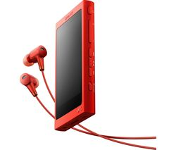 SONY Walkman NW-A35HR Touchscreen MP3 Player & Noise-Cancelling Headphones Bundle - Red