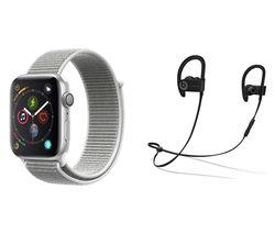 APPLE Watch Series 4 & Beats Powerbeats3 Wireless Bluetooth Headphones Bundle - Silver & Seashell Sports Loop, 44 mm