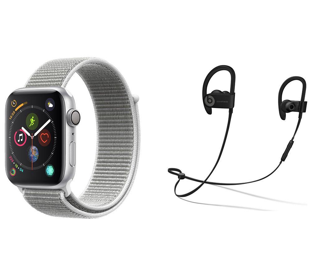 APPLE Watch Series 4 & Beats Powerbeats3 Wireless Bluetooth Headphones Bundle - Silver & Seashell Sports Loop, 44 mm, Silver cheapest retail price