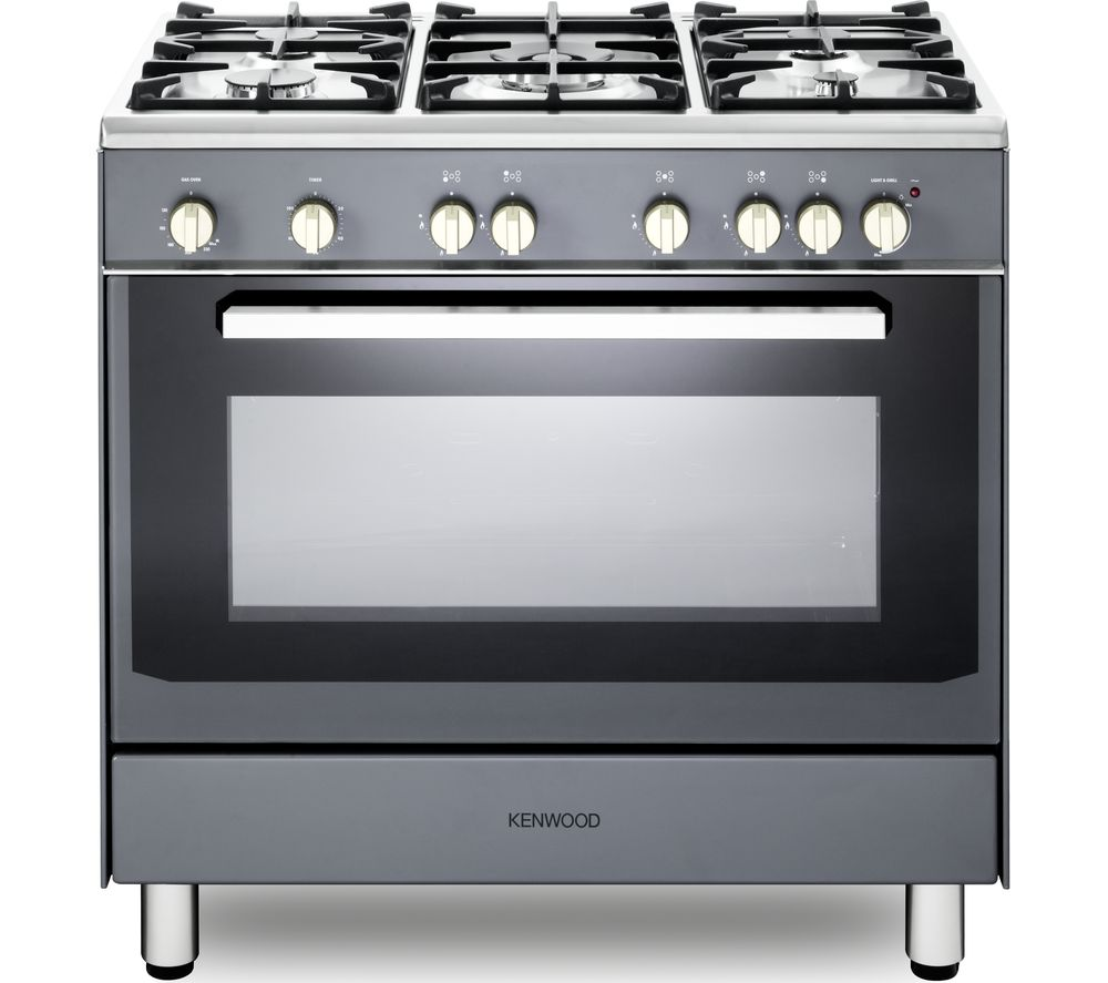 KENWOOD CK307G SL 90 cm Gas Range Cooker – Grey & Chrome, Grey
